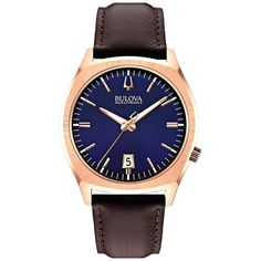 Bulova 97B133 Men's Accutron II Surveyor Blue Dial Brown Leather Strap Precisionist Watch
