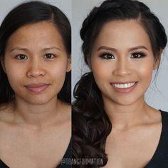 Makeup bridal makeup Asian make-up natural make-up before and after OC makeup artist Asian makeup Asian Wedding Makeup, Wedding Guest Makeup, Wedding Makeup Tips, Natural Wedding Makeup, Wedding Hair And Makeup, Hair Makeup, Prom Makeup, Bride Makeup Asian, Hair Wedding