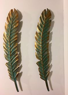 Native American Feathers Art Metal Wall Decor Turquoise Gold #NativeAmerican