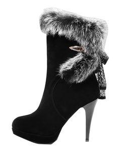 Stylish Fur Polished Thin Heel Winter Boots