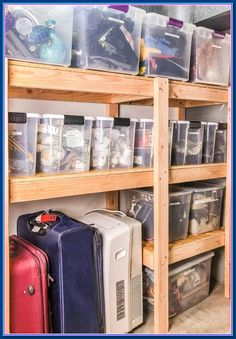 DIY Garage Shelves with Plans - These DIY garage shelves fit a ton of stuff, and cost a fraction of the price of metal or plastic s - Easy Woodworking Projects, Popular Woodworking, Woodworking Furniture, Woodworking Shop, Wood Projects, Woodworking Plans, Woodworking Classes, Sketchup Woodworking, Woodworking Articles