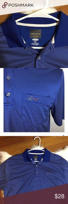 Greg Norman for Tasso Elba Golf Polo Like New. Greg Norman for Tasso Elba Golf Polo with Fine White Strips. Play Dry technology. Size: 2XL. Very comfortable. 100% Polyester. Greg Norman Shirts Polos