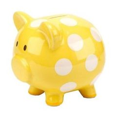 yellow with white polka dots piggy bank