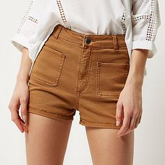 Brown high waisted denim shorts - denim shorts - shorts - women