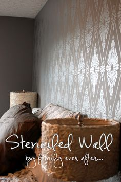 "Silver stenciled wall - stunning - ""Diamond Damask"" Cutting Edge stencil, Martha Stewart Polished Silver metallic paint & Behr gray background -- DIY links to instructions and video ~~~"