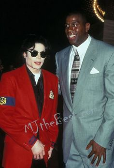MJ and world famous basketball player Magic Johnson attends the opening Magic Johnson Sony Theatre in Los Angeles July 10 1995