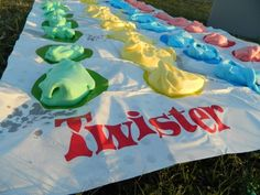 Messy twister with shaving foam food dye. Ok, now this is FUN! I might not do this with little kids but teens and adults would be rad.