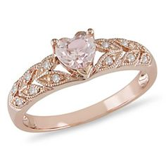 Morganite - peachy pink stone with diamonds in rose gold.  Named for J.P. Morgan.