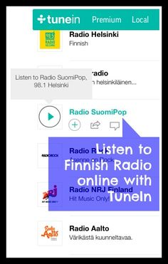 Learning Finnish: listen to Finnish radio stations online with TuneIn. It's one way to immerse yourself in the language if you are learning remotely in another country.