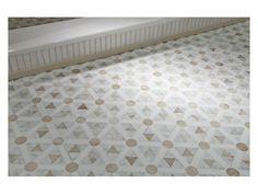 Master Bath - Shower Entry  Floor: Custom Mosaic Mercator Honed - White Onyx Circles & Triangles, Thassos Rectangles, and Carrara