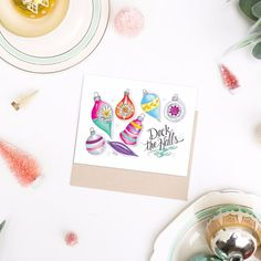 Pretty Deck the Halls Holiday Card with Hand Painted Ornaments