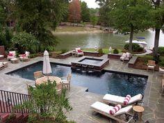 Gunite Pool on Lake Murray, SC - The Clearwater Pool Company Gunite Pool, Clearwater Pools, Living Pool, Rectangle Pool, Square Pool, Hot Tub Deck, Swimming Pool Tiles, Backyard Pool Designs, Rustic Homes