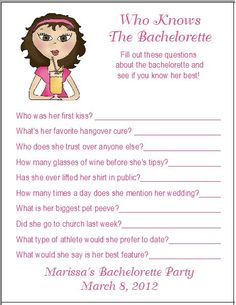 12 Personalized Who Knows The Bachelorette Party Game. $3.50, via Etsy.