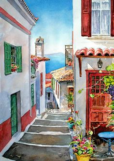 Landscapes by Pantelis D. Zografos Watercolor Landscapes by Pantelis D. Zografos (LORI - check out her art journal board)Watercolor Landscapes by Pantelis D. Zografos (LORI - check out her art journal board) Watercolor Architecture, Watercolor Landscape, Watercolor Paintings, Watercolours, Art Carte, Urban Sketching, Art Sketchbook, Beautiful Paintings, Art Techniques
