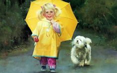 Early Childhood : Donald Zolan Paintings of Heartwarming Childhood Moments - Early Childhood : Rainy Day Pals , Donald Zolan Painting Wallpaper 2 Umbrella Art, Under My Umbrella, Yellow Umbrella, Walking In The Rain, Singing In The Rain, Artists For Kids, Art For Kids, Adorable Petite Fille, China Art