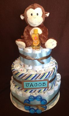Baby Boy Diaper Cake by DiaperCakesByKristin on Etsy, $45.00