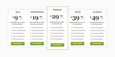 XOO Plate :: Professional 5 Column Pricing Table PSD