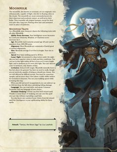 Moonfolk: The long eared scholars of the world : UnearthedArcana Dungeons And Dragons Races, Dungeons And Dragons Classes, Dnd Dragons, Dungeons And Dragons Characters, Dungeons And Dragons Homebrew, Dnd Characters, Mythical Creatures Art, Mythological Creatures, Magical Creatures
