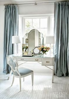 Beautiful, full, Pale Blue silk drapes