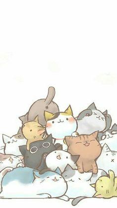 Wallpaper for cat lovers - background - # - Katzen - Cat Wallpaper Cute Cat Drawing, Cute Animal Drawings, Kawaii Drawings, Cute Drawings, Cute Cat Wallpaper, Kawaii Wallpaper, Diy Wallpaper, Cat Pattern Wallpaper, Doodles Bonitos