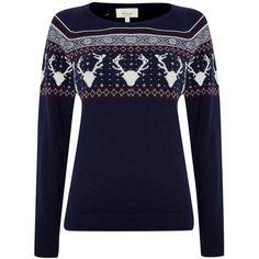 Linea Weekend Ladies reindeer pattern christmas jumper found on Polyvore