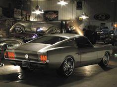 Mustang in the garage