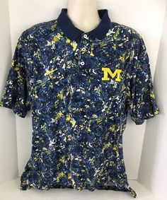 VTG 90S Michigan Wolverines Nike Abstract Print Polo Shirt NCAA Size XXL #Nike #MichiganWolverines