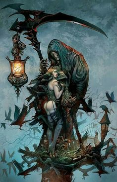 Sexy Lady With Grim Reaper