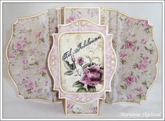 """this card is open..... closed photo in post... SEE my TEMPLATES board for a link to a template from the same blog (the card will have circle """"wings"""" in brown instead of these die-cut """"wings"""")"""