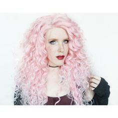 Lace Front Pink Wig Pastel Wig Ombre Wig Scene Wig Cotton Candy Heart ($162) ❤ liked on Polyvore featuring beauty products, haircare, hair styling tools, wigs, bath & beauty, hair care, silver, straightening iron, styling iron and flat iron