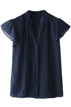 Comely Cap Sleeve Chiffon Blouse - OASAP.com