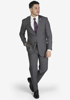 Suit includes jacket & trousers 2-button single breast jacket Notch lapels Flap pockets Side vents Suit includes jacket & trousers Fit: Slim Fit Comfort: Stretch Armhole for comfort Material: 98% Wool 2% Spandex Color: Medium Grey