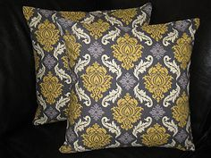 "Pillows 18"" grey and yellow Sparrows & Lattice Accent Pillow 18x18 inch set of TWO Joel Dewberry Aviary 2. $33.00, via Etsy."