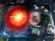 """Exploding Star Spray Paint Art 28"""" by 22"""" on Etsy, $45.00"""