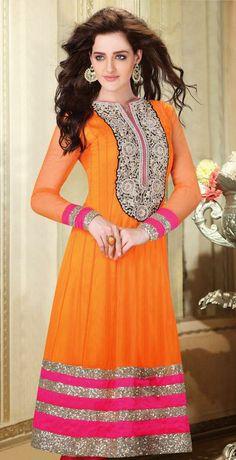 USD 210.97 Orange Embroidered Net Anarkali Salwar Suit 28453