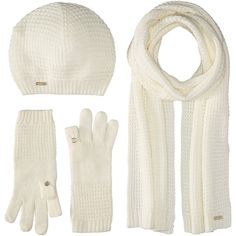 Calvin Klein Three-Piece Waffle Knit Hat/Gloves/Scarf Set (Cream) ($55) ❤ liked on Polyvore featuring accessories and calvin klein
