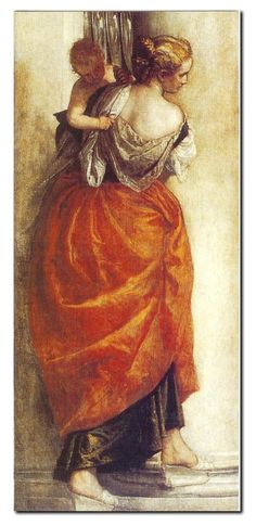 Veronese. A beautiful example of glazing. The skirt has been underpainted in a golden yellow then glazed with a rich burnt orange glaze. When painting fabrics in this way Veronese sometimes enriched the surface with small highlights of body colour to give sparkle.