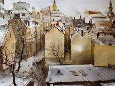 Vjacheslav Kurseev - watercolor artist from Saratov city, Russia. Russian Painting, Art Watch, Z Photo, Watercolor Techniques, Art World, Watercolor Paintings, Watercolour, Landscape Paintings, City