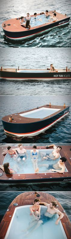 This is the electric boat with a hot tub built into its deck. Engineered and built in Seattle, WA by a marine carpenter that specializes in custom house boats, the craft's Vinylester hull is topped with a slatted deck handcrafted from African teak.
