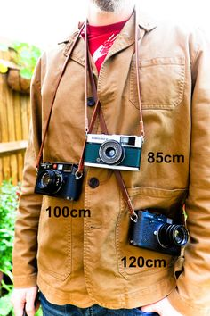 Thick Brown Leather Camera Strap for the Minimalist Shooter with Linen Stitching. by MHaccoutrements