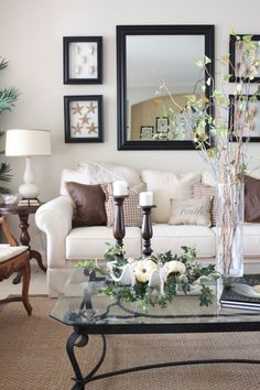 Living Rm. switch-out for Fall w/ cream, linen, browns, dark wood accents ie: candlesticks