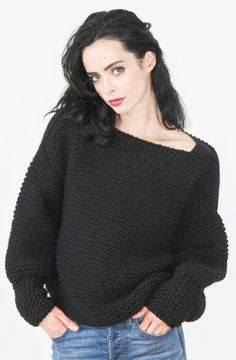 Knitting Kit for Easy Krysten Ritter Sweater - Long sleeved pullover designed by Jessica Jones star and knitter Krysten Ritter in collaboration with We Are Knitters. Sizes S, M, L, XL. Rated easy by the designer.