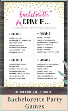 Bachelorette Party Games, Drink If Game, Printable Bachelorette Games, Hen's Night, Hen Party, Gold, Pink, Black, Drinking, Instant Download - NNT #affiliate #partygames #bacheloretteparty #bachelorettepartyideas #games #gameday #henparty