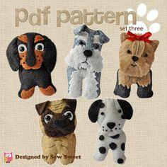 Roztomilé plyšové psov šitie pdf vzoru nastaviť tri Pug, jazvečík, dalmatín, teriér, krúžok na kľúče, plyšové, plsti, šiť svoje IEN, bradáč