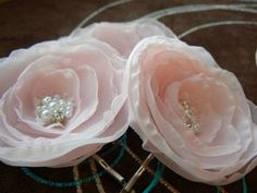 Blush Pink Wedding Flower Hair Clips