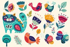 Art And Illustration, Butterfly Illustration, Flower Illustrations, Pattern Illustration, Folk Art Flowers, Cat Flowers, Flower Art, Colorful Flowers, Colorful Birds