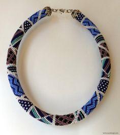 Beaded Necklace  Beaded Crochet NecklaceGeometric por NazoDesign, $80.00