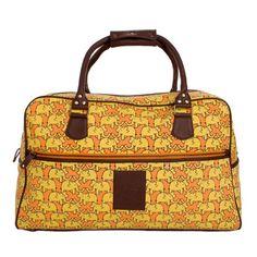 Marigold Elephant Print Weekend Bag by Sanaa Hyder