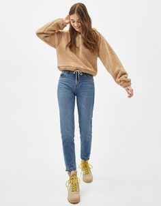 Faux shearling hoodie - Bershka #new #newin #fashion #clothes #sweater #sudadera #print #trend #trendy #cool #2019 #tendencia #moda #outfit #outfits #ideas #inspiration #outwear #winter #autumn #fall #cold #look #woman #mujer #hoodie #cropped