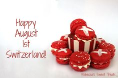 Swiss National Holiday red & white macarons. Happy August 1st Switzerland!!! Swiss National Day, 1 August, National Holidays, Macarons, Red And White, Sweet Treats, Europe, Sweets, Club